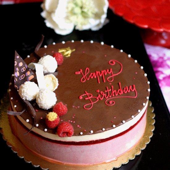 Raspberry Mousse Birthday Cake