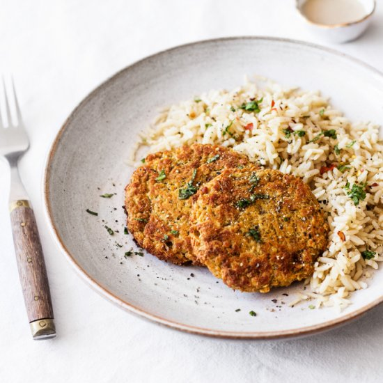 Red Lentil Quinoa Cakes With Harissa The Full Helping