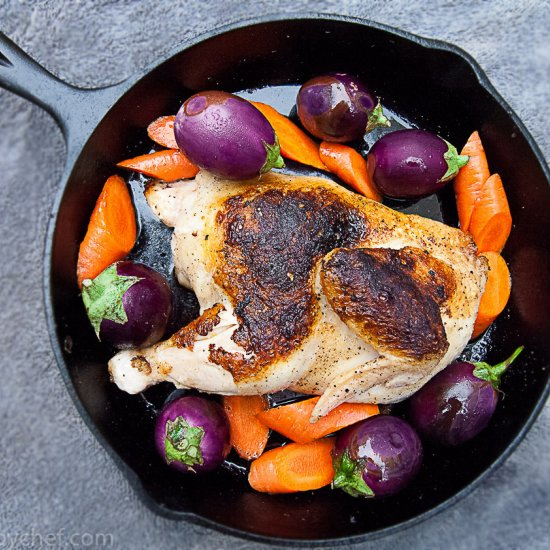 Eggplant with Chicken in Red Wine