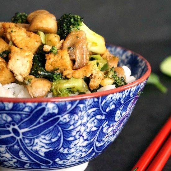 Tofu broccoli and mushroom stir fry