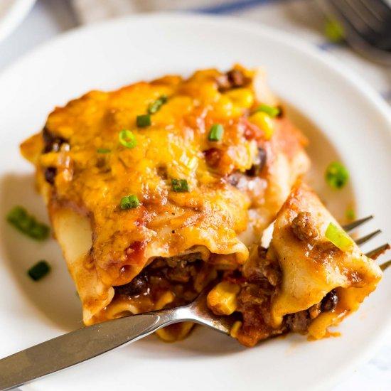 Mexican Lasagna Roll Ups