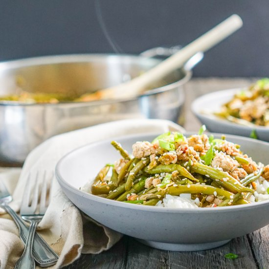 Spicy Chinese Green Beans w/ Turkey