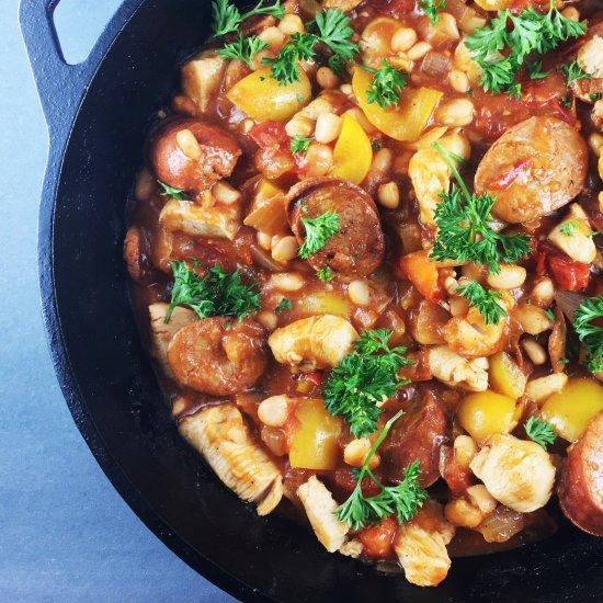 White Bean Chicken Sausage Skillet