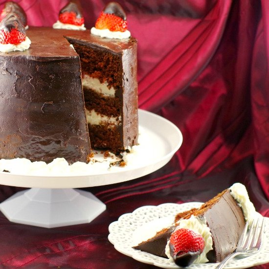 Red Wine Strawberry Chocolate Cake
